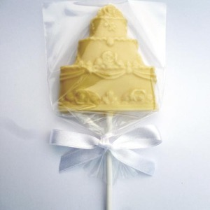 White Chocolate Wedding Cake Lollipops Wedding Favour Product Image