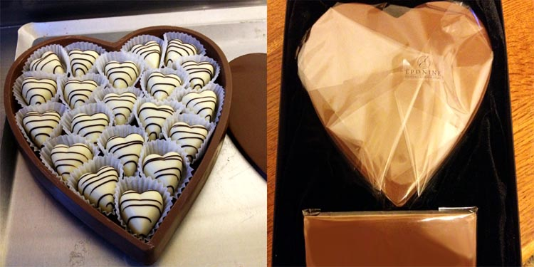 chocolate heart box filled and wrapped