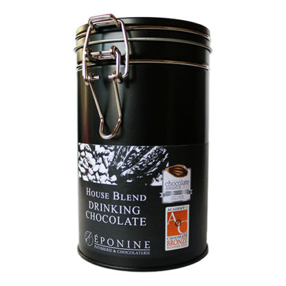 House Blend Drinking Chocolate Tin Showing Award Logos