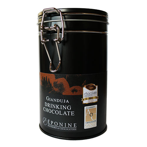 Gianduja Drinking Chocolate Tin Showing Award Logos