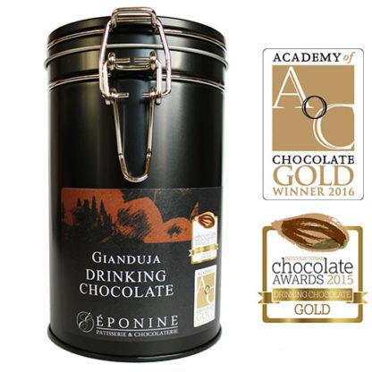 Gianduja Drinking Chocolate Tin with Award Logos