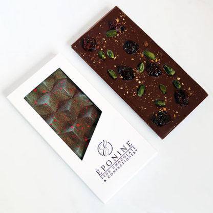 Cherry, Pistachio & Kampot Pepper Madagascan Dark Chocolate Bar