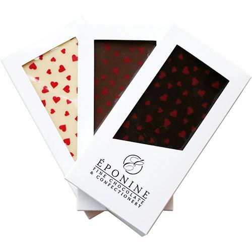 Valentine's Heart Chocolate Bars in White, Milk and Dark