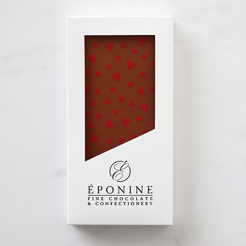 Valentine's Heart Milk Chocolate Bar in White Branded Box