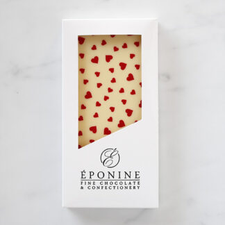 Valentine's Heart White Chocolate Bar in White Branded Box