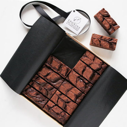 Salted Caramel Brownies Unboxed Angled Flatlay