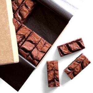 Salted Caramel Brownies Unboxed Flatlay