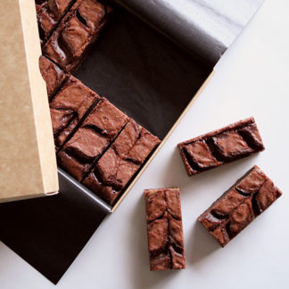 Salted Caramel Brownies Unboxed Flatlay