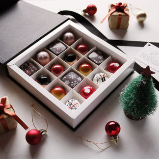 Christmas Collection Chocolate Box 2018 Open Angled with Decorations
