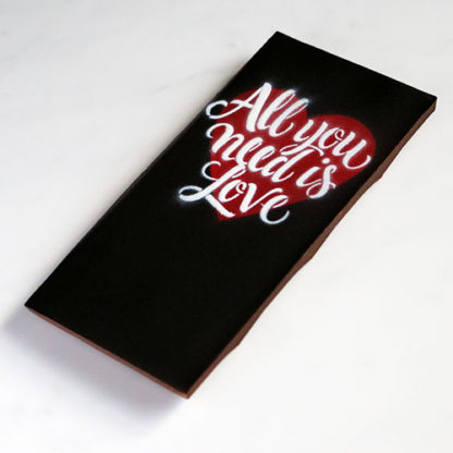 Valentines All You Need Is Love Hazelnut Chocolate Bar Unboxed Angled