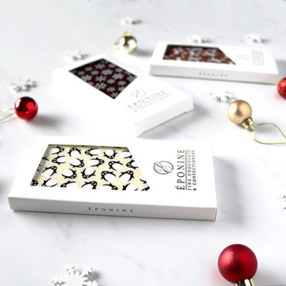 Christmas Chocolate Bars with Decorations Angled