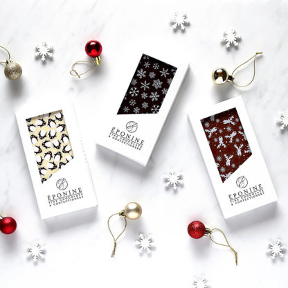 Christmas Chocolate Bars with Decorations Overhead