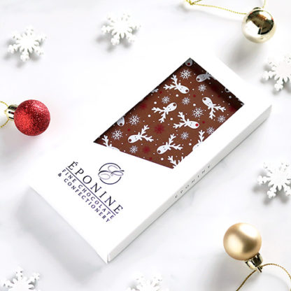 Reindeer Christmas Milk Chocolate Bar Angled with Festive Decorations
