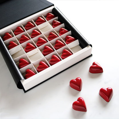 Red Heart Chocolates and Chocolate Gift Box Open Angled