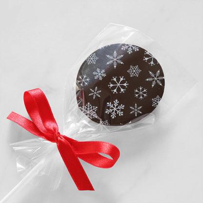 Dark Chocolate Christmas Lollipop with Snowflake Pattern Bagged Overhead Angled