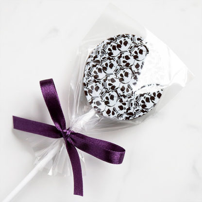 Dark Chocolate Halloween Lollipop with Skull Pattern Bagged Overhead Angled