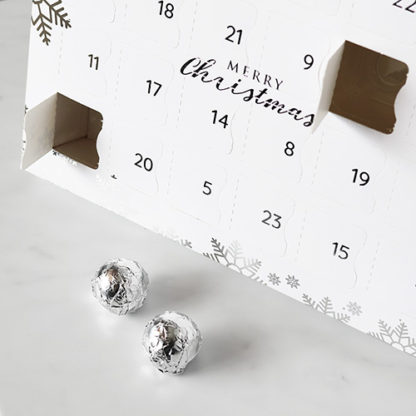 Luxury Advent Calendar with 2 Wrapped Chocolates In Front