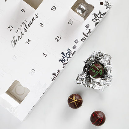 Luxury Advent Calendar with Chocolates In and Out of Window Overhead