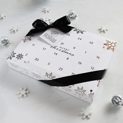 Luxury Advent Calendar with Festive Background Decorations Angled