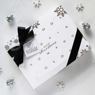 Luxury Advent Calendar with Festive Background Decorations Overhead