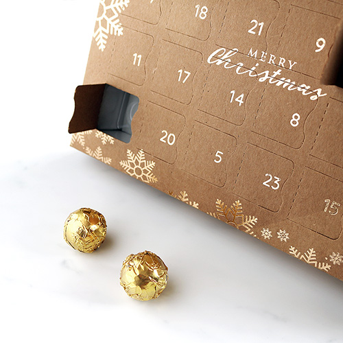 Vegan Advent Calendar with 2 Wrapped Chocolates In Front