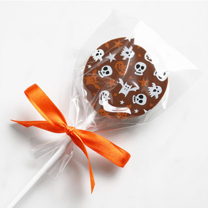 Milk Chocolate Halloween Lollipop with Seasonal Pattern Bagged Overhead Angled