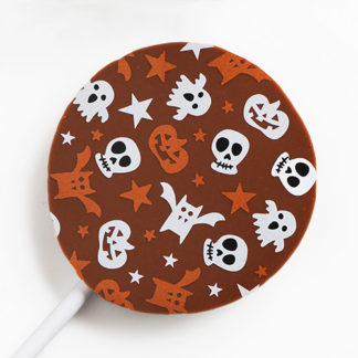 Milk Chocolate Halloween Lollipop with Seasonal Pattern Overhead Close Up