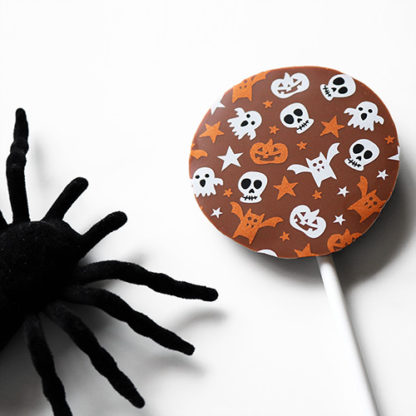 Milk Chocolate Halloween Lollipop with Spooky Spider Angled Close Up