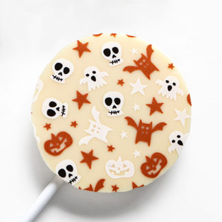 White Chocolate Halloween Lollipop with Seasonal Pattern Overhead Close Up