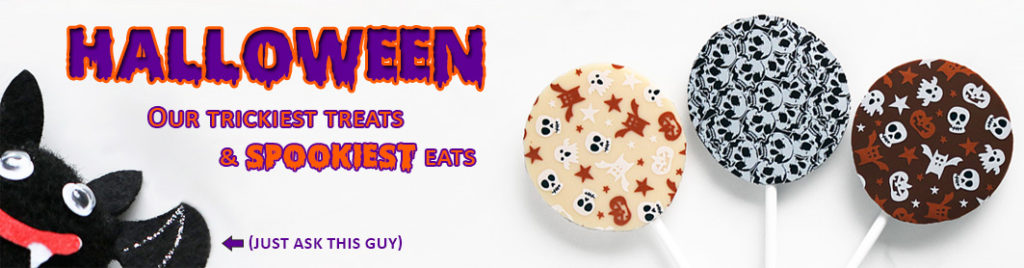 Halloween Tricks and Treats Chocolate Lollipop Banner Image