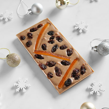 Mince Pie Christmas Vegan Chocolate Bar Unboxed with Festive Decorations
